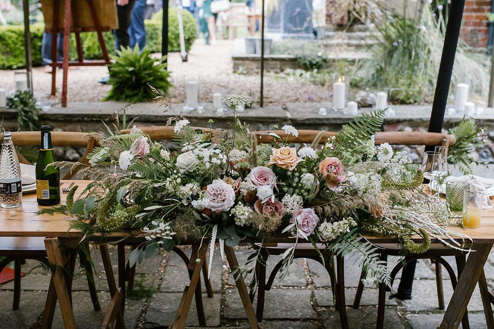 Top Table Flowers Blush Rose Greenery Chaucer Barn Wedding Katherine Ashdown Photography