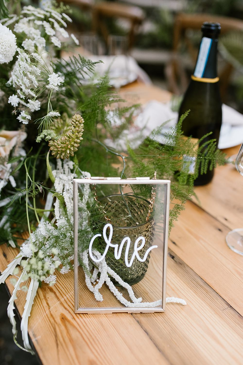 Table Number Calligraphy Glass Frame Chaucer Barn Wedding Katherine Ashdown Photography