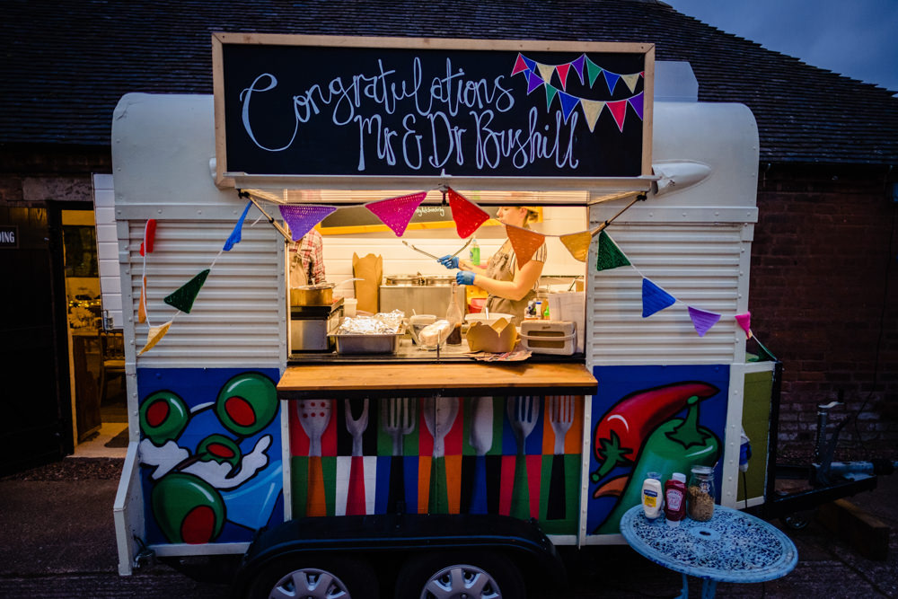 Food Truck Van Cowshed Woodhall Farm Wedding Emma and Rich