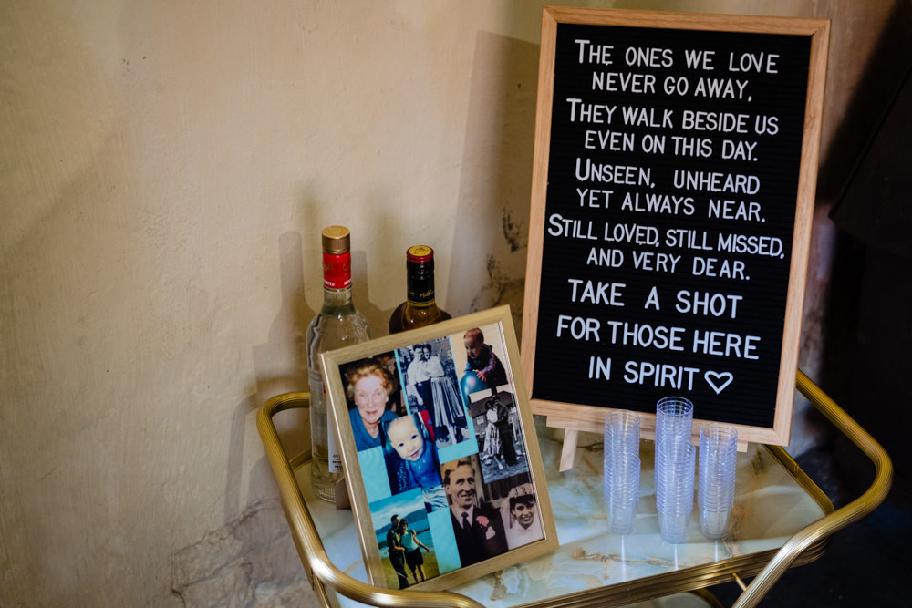 Lost Loved Ones Remember Memory Table Cowshed Woodhall Farm Wedding Emma and Rich