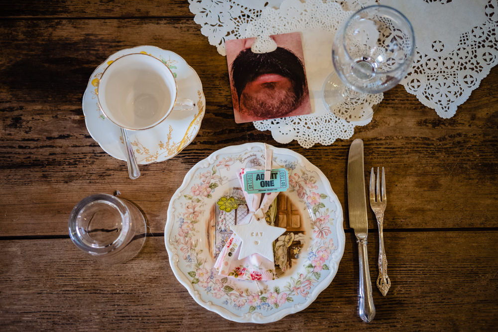 Table Decor Place Setting Plates Doily Napkin Star Favour Cowshed Woodhall Farm Wedding Emma and Rich