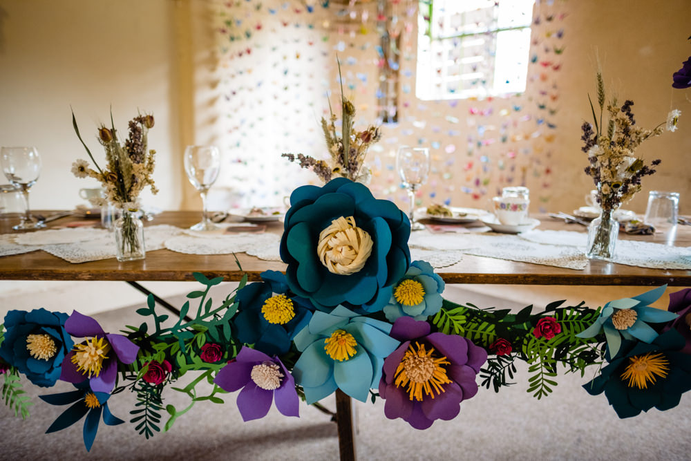 Paper Flowers Top Table Decor Cowshed Woodhall Farm Wedding Emma and Rich