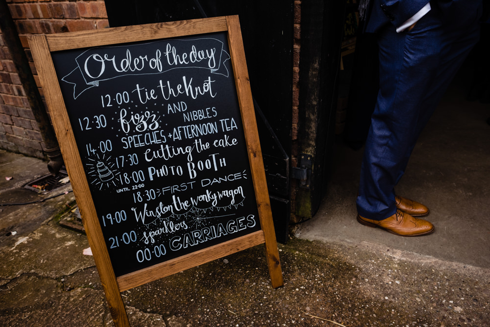 Sign Signs Signage Order of the Day Blackboard Cowshed Woodhall Farm Wedding Emma and Rich