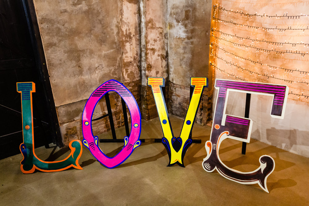Love Sign Signs Signage Cowshed Woodhall Farm Wedding Emma and Rich