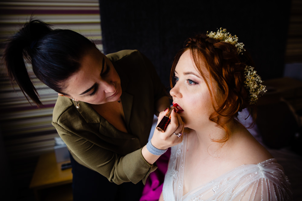Bride Bridal Hair Make Up Cowshed Woodhall Farm Wedding Emma and Rich