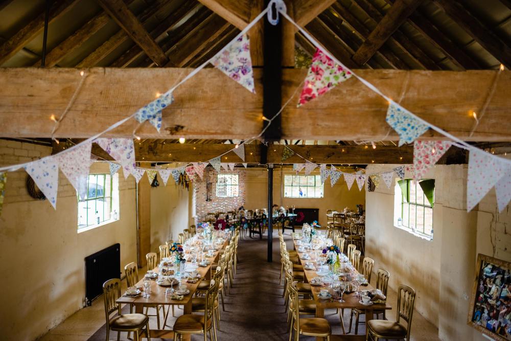Barn Bunting Decor Cowshed Woodhall Farm Wedding Emma and Rich