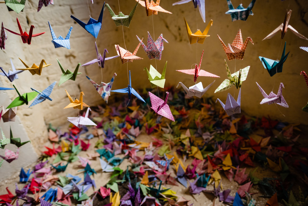 Origami Paper Cranes Cowshed Woodhall Farm Wedding Emma and Rich