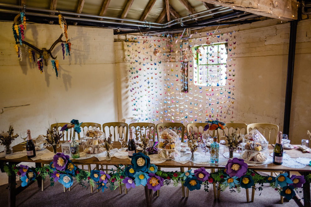 Paper Flowers Top Table Decor Origami Paper Cranes Cowshed Woodhall Farm Wedding Emma and Rich