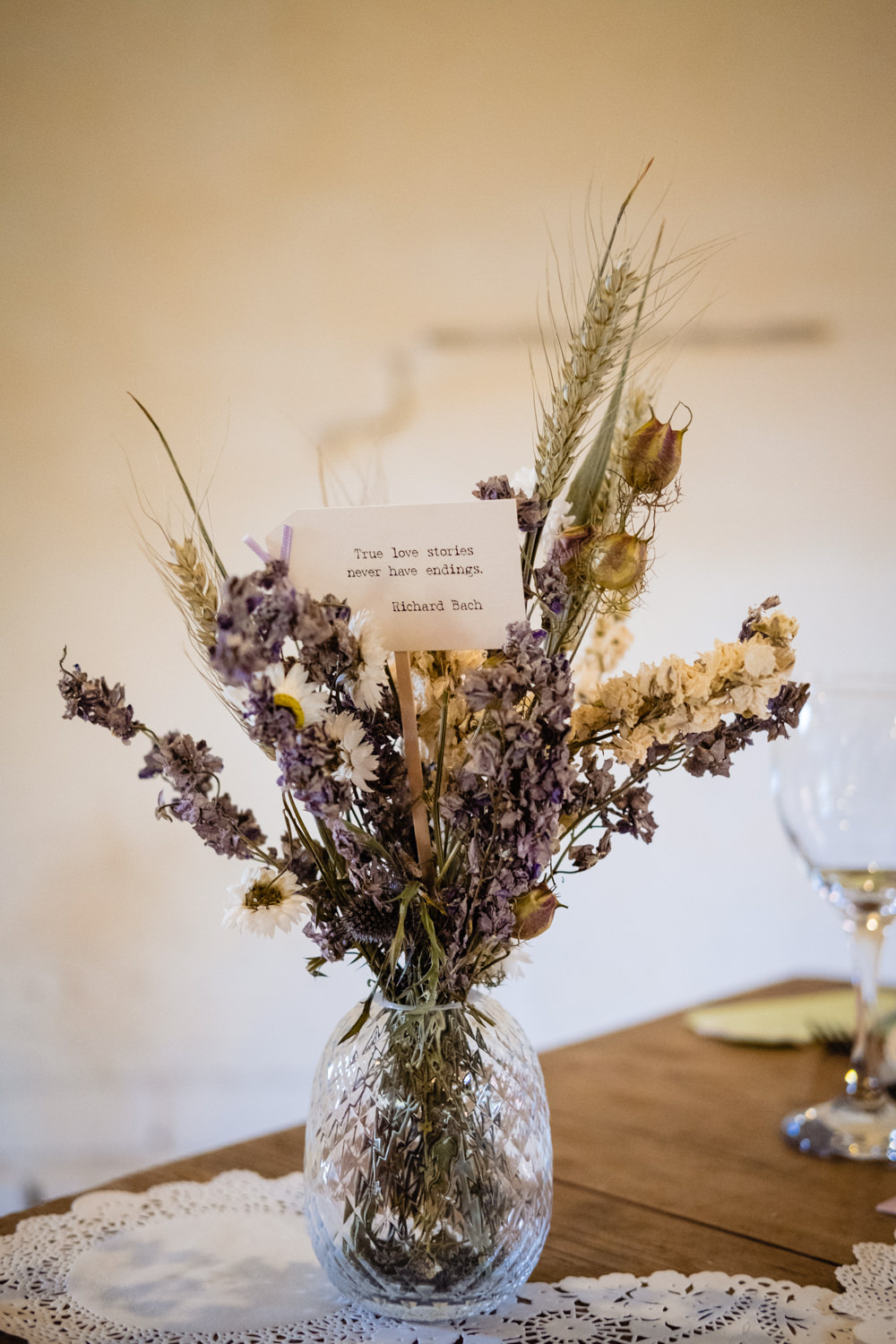 Dried Flowers Lavender Table Bottle Cowshed Woodhall Farm Wedding Emma and Rich
