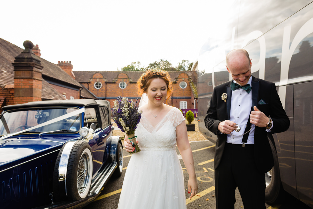 Bride Bridal Dress Gown Bouquet Lavender Flowers Wed2b Cowshed Woodhall Farm Wedding Emma and Rich