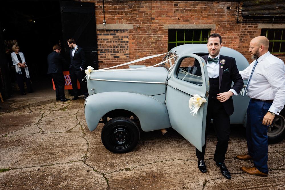 Car Transport Cowshed Woodhall Farm Wedding Emma and Rich