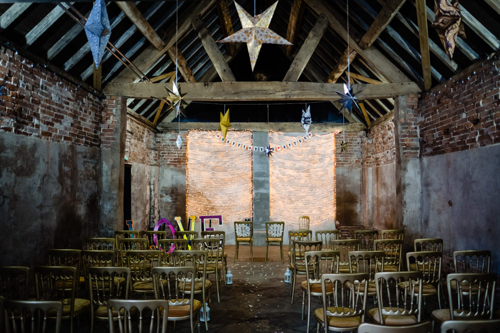 Barn Stars Decor Cowshed Woodhall Farm Wedding Emma and Rich