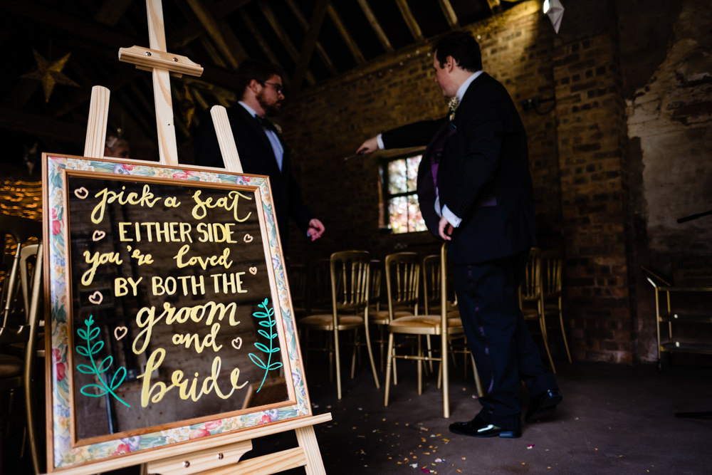 Sign Signs Signage Ceremony Blackboard Cowshed Woodhall Farm Wedding Emma and Rich
