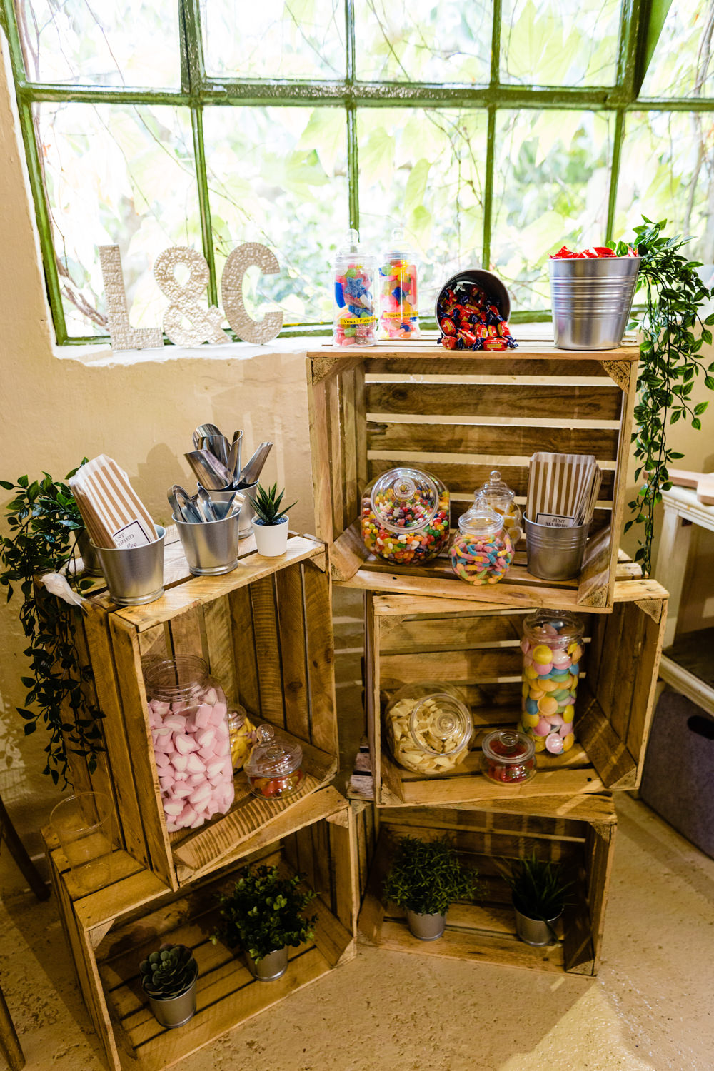 Sweetie Table Sweets Crates Cowshed Woodhall Farm Wedding Emma and Rich