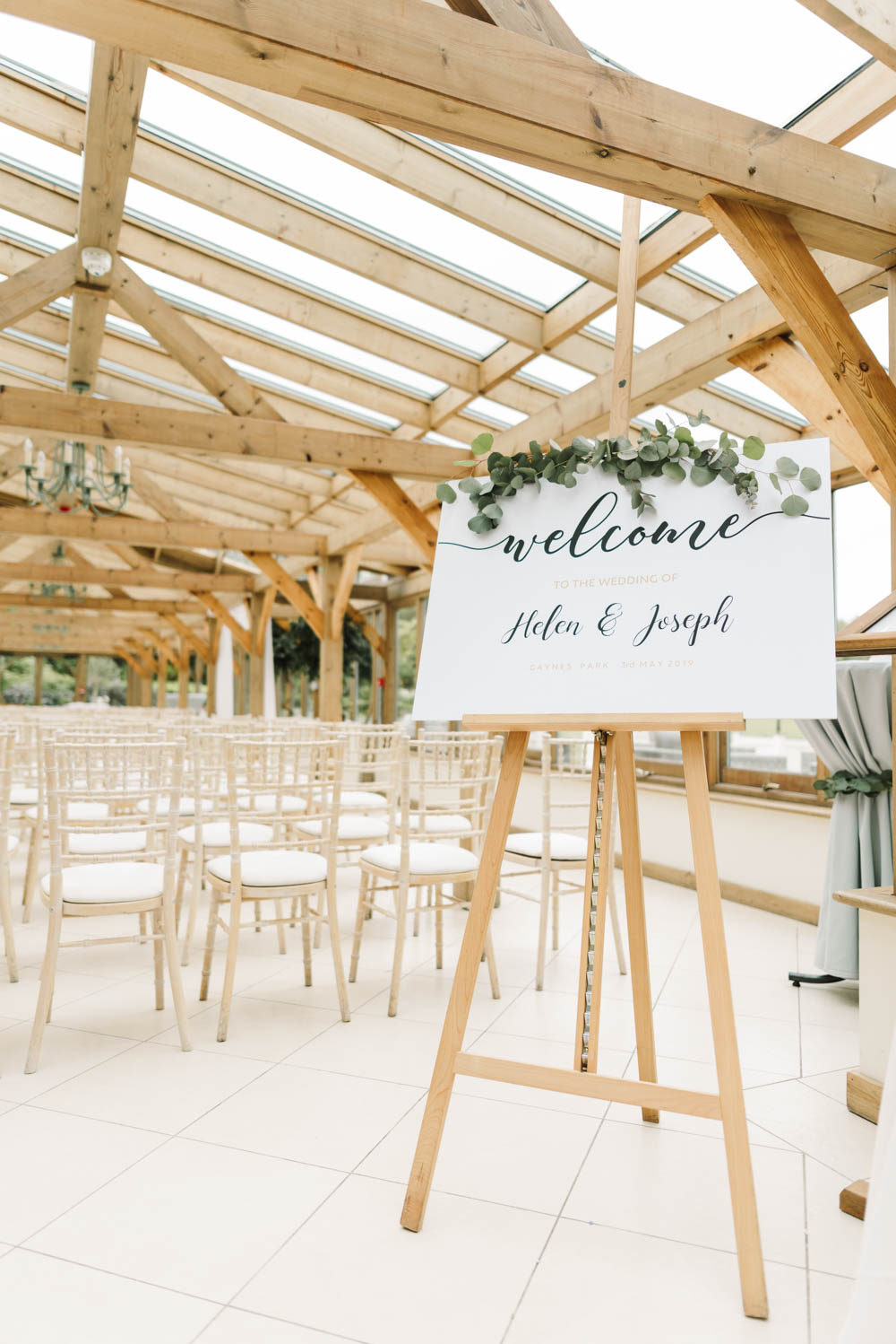 Welcome Sign Calligraphy Greenery Dove Grey Wedding Danielle Smith Photography