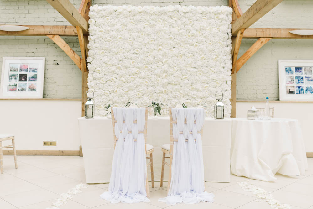 Flower Wall Ceremony Table Flowers Chair Ribbons Dove Grey Wedding Danielle Smith Photography