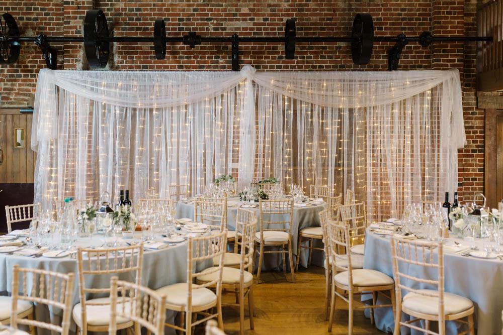Fairy Light Curtain Wall Backdrop Barn Dove Grey Wedding Danielle Smith Photography