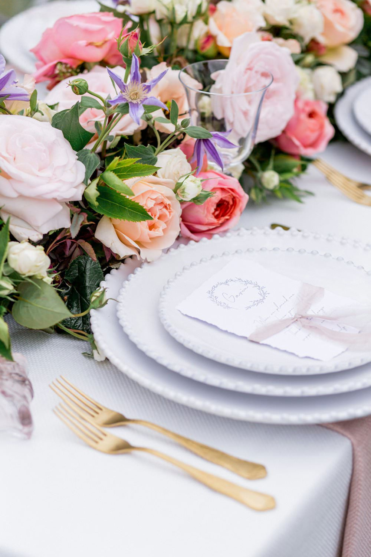Place Setting Gold Cutlery Flowers Plates Menu English Garden Wedding Inspiration Philippa Sian Photography