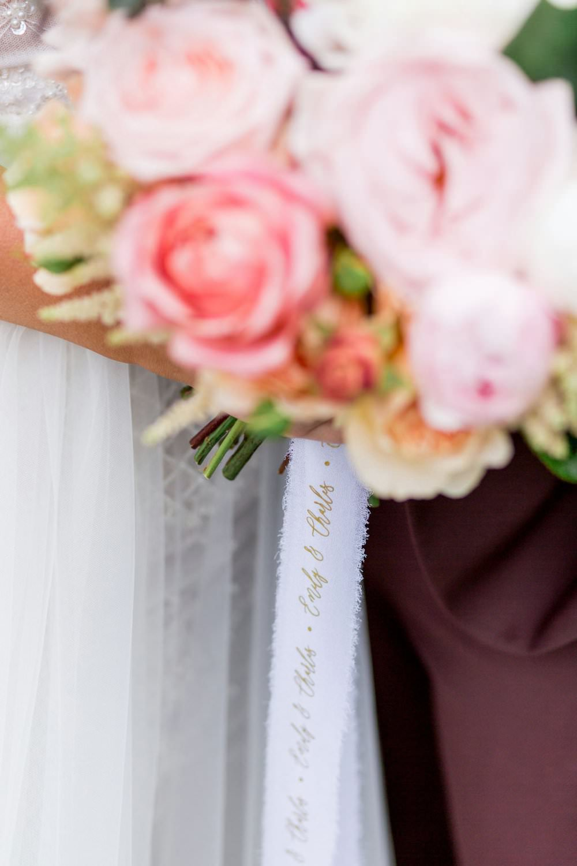 Bouquet Flowers Bride Bridal Coral Lilac Rose Peony Ribbon English Garden Wedding Inspiration Philippa Sian Photography