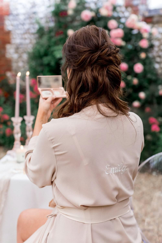 Personalised Dressing Gown Robe Bride Bridal English Garden Wedding Inspiration Philippa Sian Photography