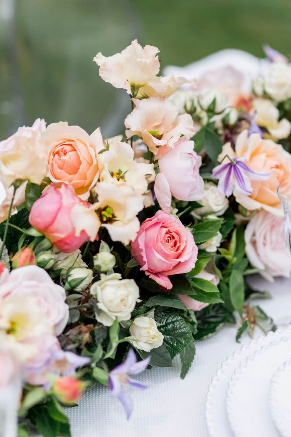 Table Flowers Garland Swag Centrepiece Coral Lilac Rose Peony English Garden Wedding Inspiration Philippa Sian Photography