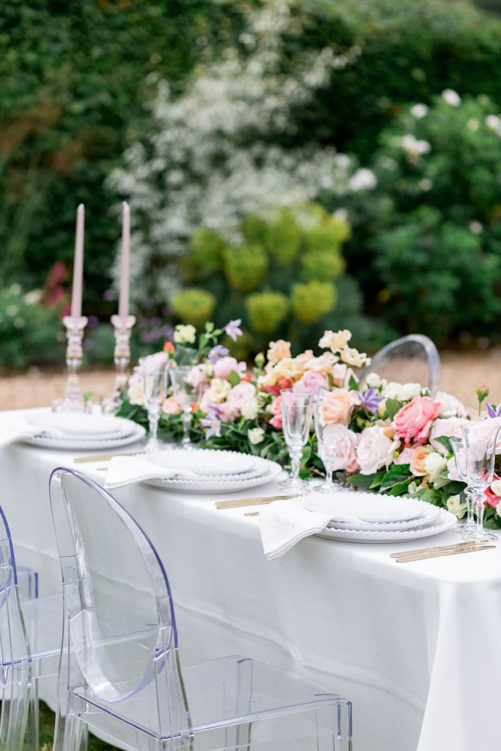 Tablescape Table Ghost Chairs Decor Flowers English Garden Wedding Inspiration Philippa Sian Photography