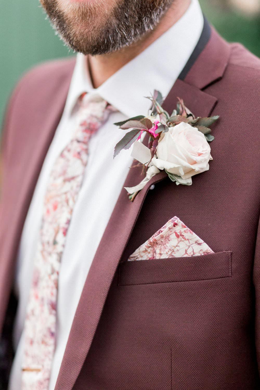 Groom Suit Burgundy Floral Tie Buttonhole English Garden Wedding Inspiration Philippa Sian Photography