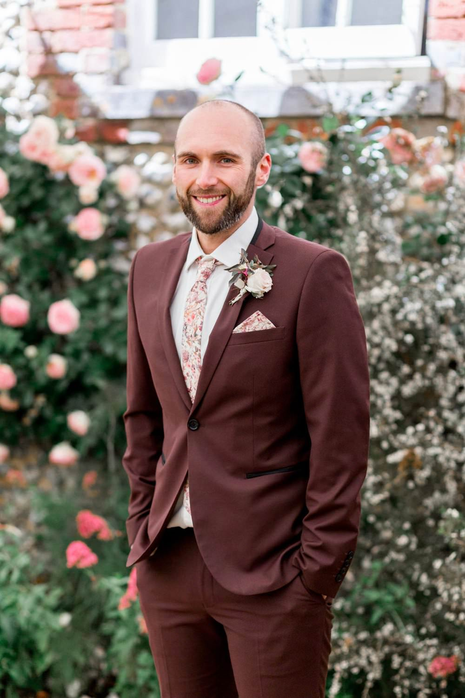 Groom Suit Burgundy Floral Tie English Garden Wedding Inspiration Philippa Sian Photography