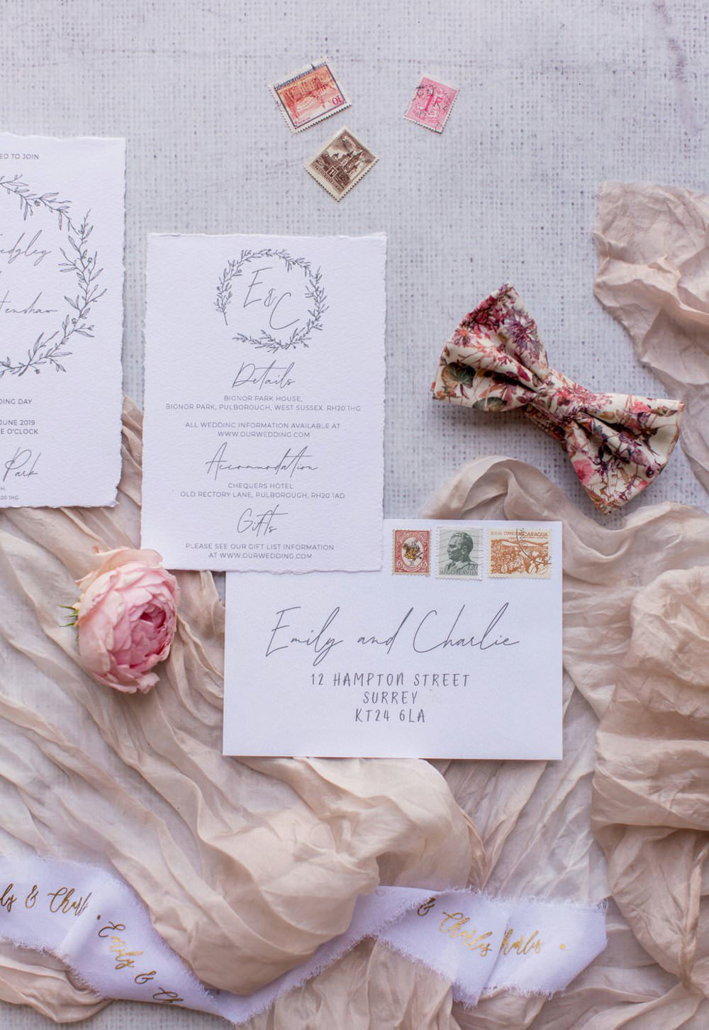 Stationery Suite Invite Invitations Floral Pastel Soft Pink Floral Calligraphy English Garden Wedding Inspiration Philippa Sian Photography