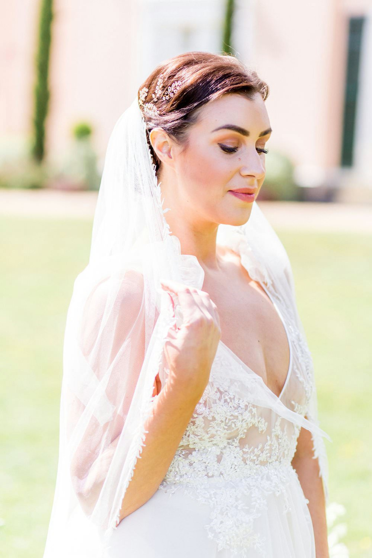 Dress Gown Bride Bridal Straps Tulle Veil English Garden Wedding Inspiration Philippa Sian Photography