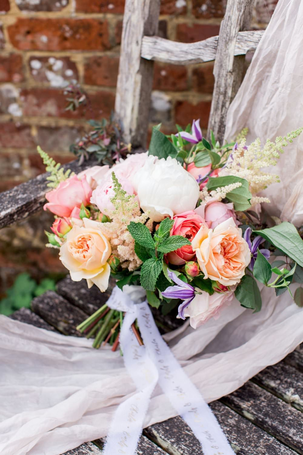 Bouquet Flowers Bride Bridal Coral Lilac Rose Peony English Garden Wedding Inspiration Philippa Sian Photography