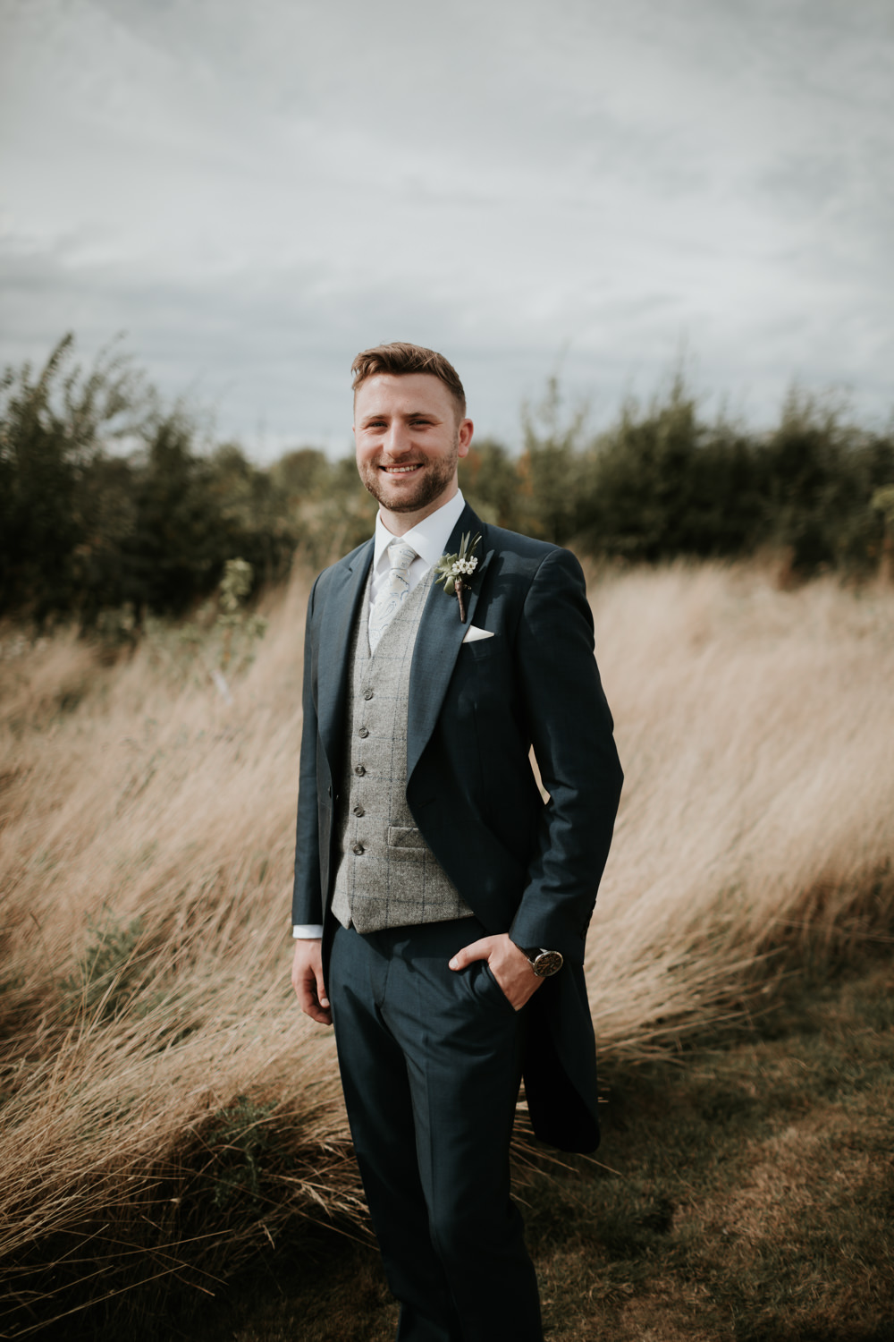 Groom Suit Navy Tails Traditional Waistcoat Ferry House Inn Wedding Paul Fuller Kent Photography