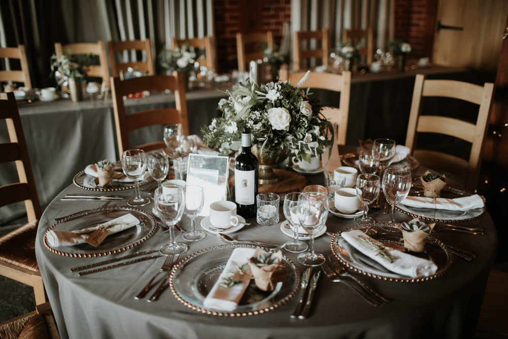 Round Tables Grey Table Cloths Flowers Centrepiece Ferry House Inn Wedding Paul Fuller Kent Photography