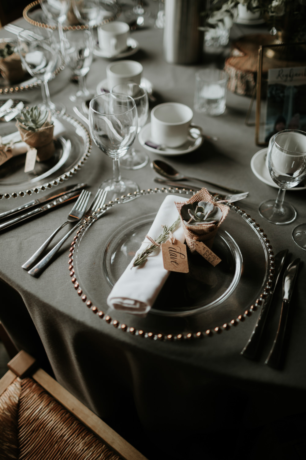 Place Setting Decor Napkin Charger Succulent Favour Ferry House Inn Wedding Paul Fuller Kent Photography