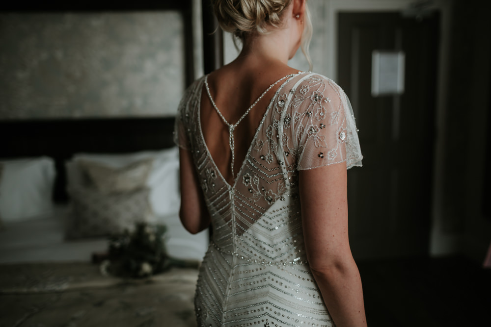 Dress Gown Bride Bridal Jenny Packham Beaded Sequin Cap Sleeves Ferry House Inn Wedding Paul Fuller Kent Photography