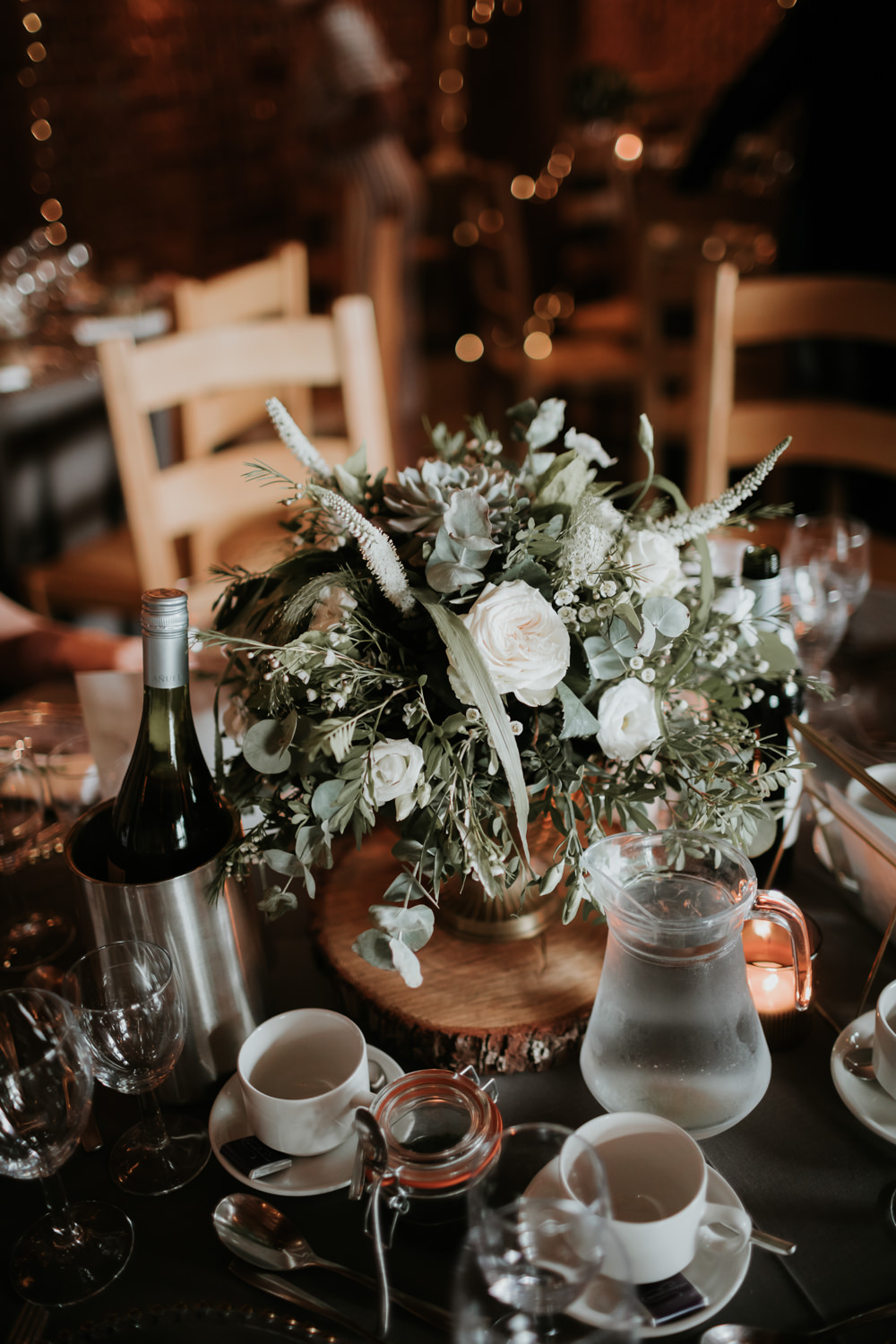 Round Tables Grey Table Cloths Flowers Centrepiece Greenery Foliage Ferry House Inn Wedding Paul Fuller Kent Photography