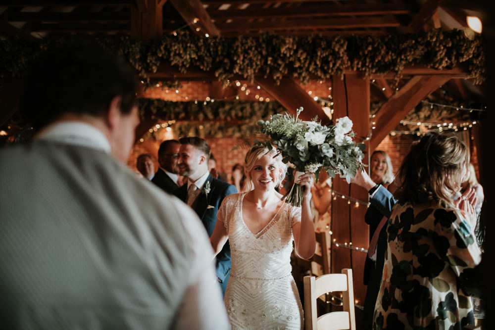 Bouquet Flowers Bride Bridal Succulent Rose Greenery Ferry House Inn Wedding Paul Fuller Kent Photography