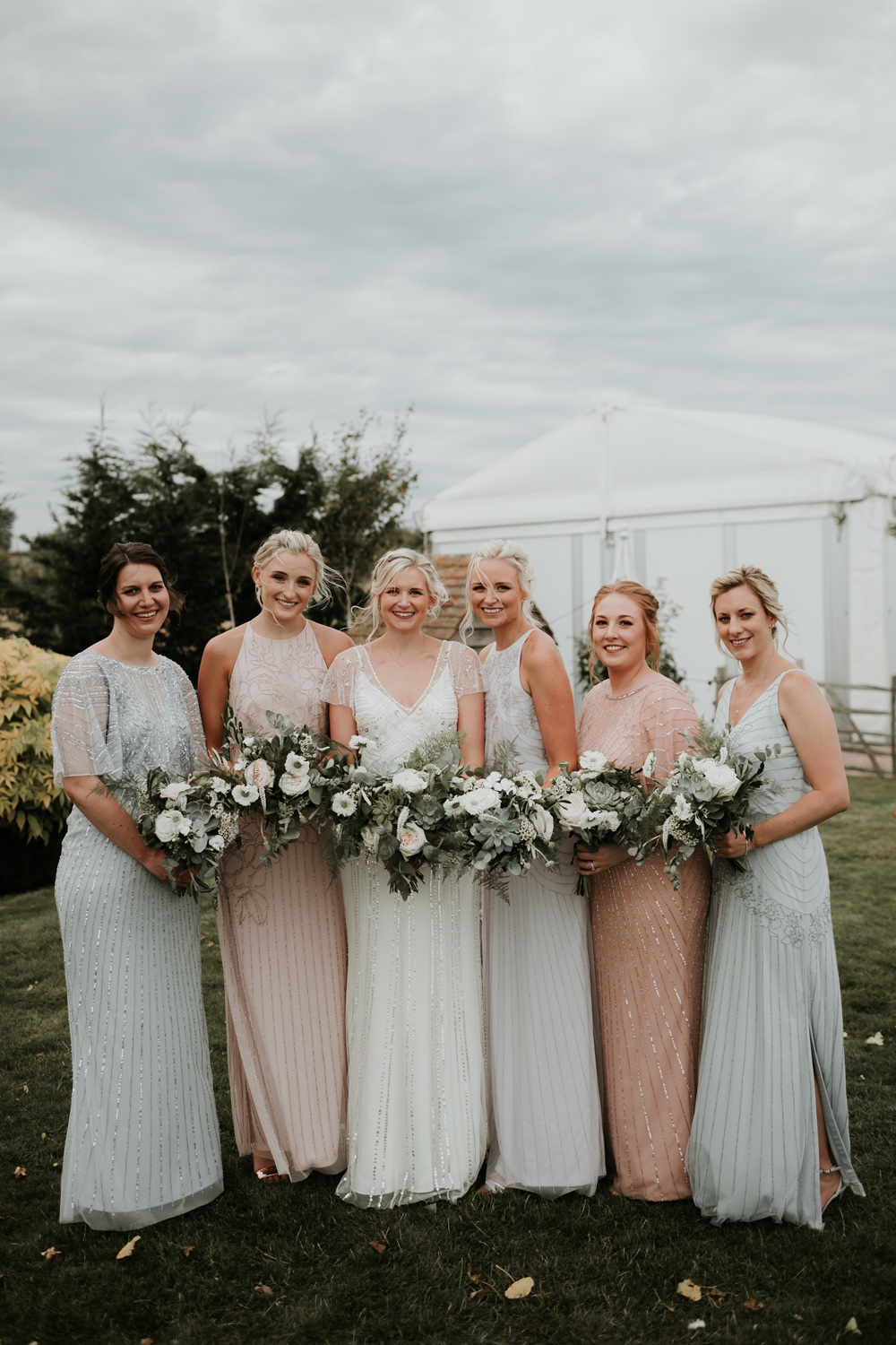 Sequin Pastel Bridesmaid Dress Bridesmaids Dresses Long Maxi Ferry House Inn Wedding Paul Fuller Kent Photography