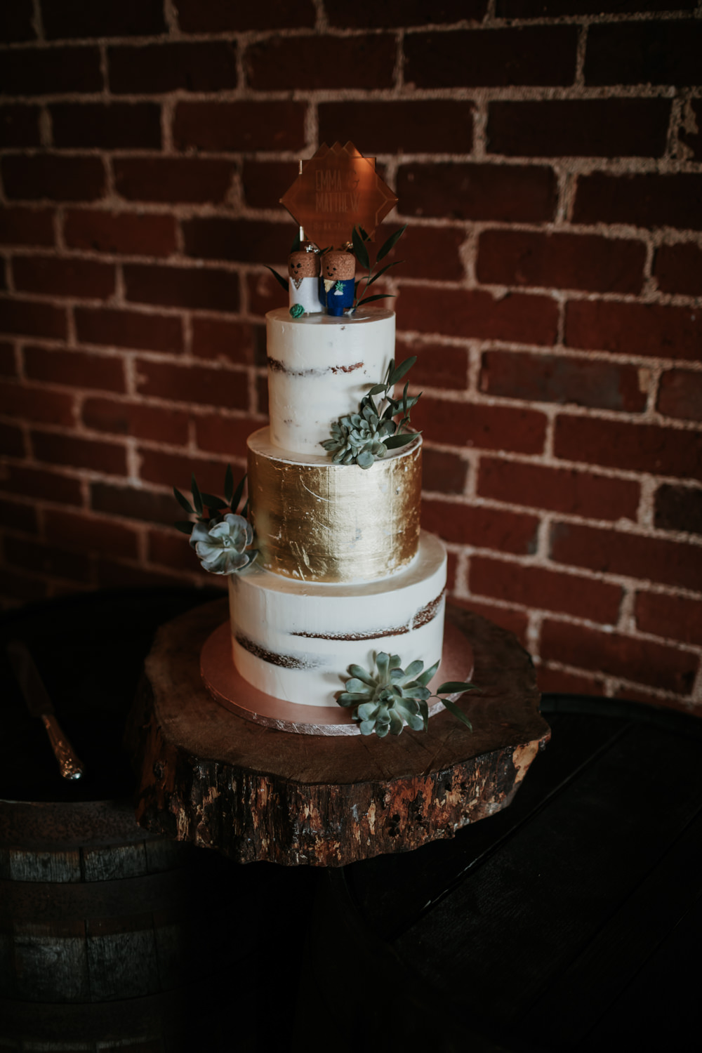 Semi Naked Cake Gold Log Stand Succulent Topper Ferry House Inn Wedding Paul Fuller Kent Photography