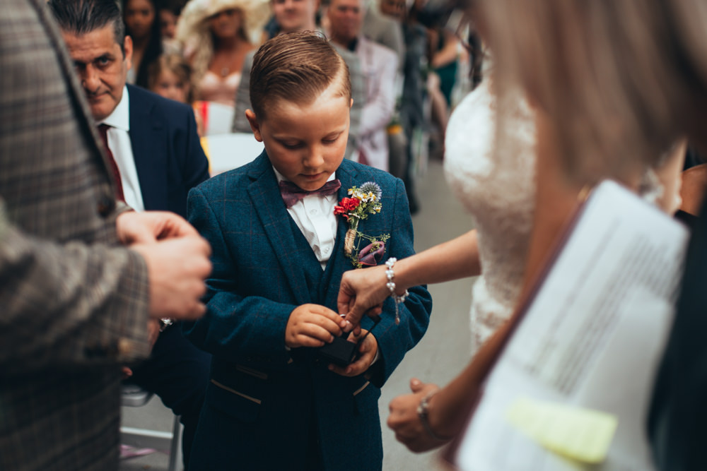 Page Boy Suit Bow Tie Old Barn Wedding Joshua Rhys Photography