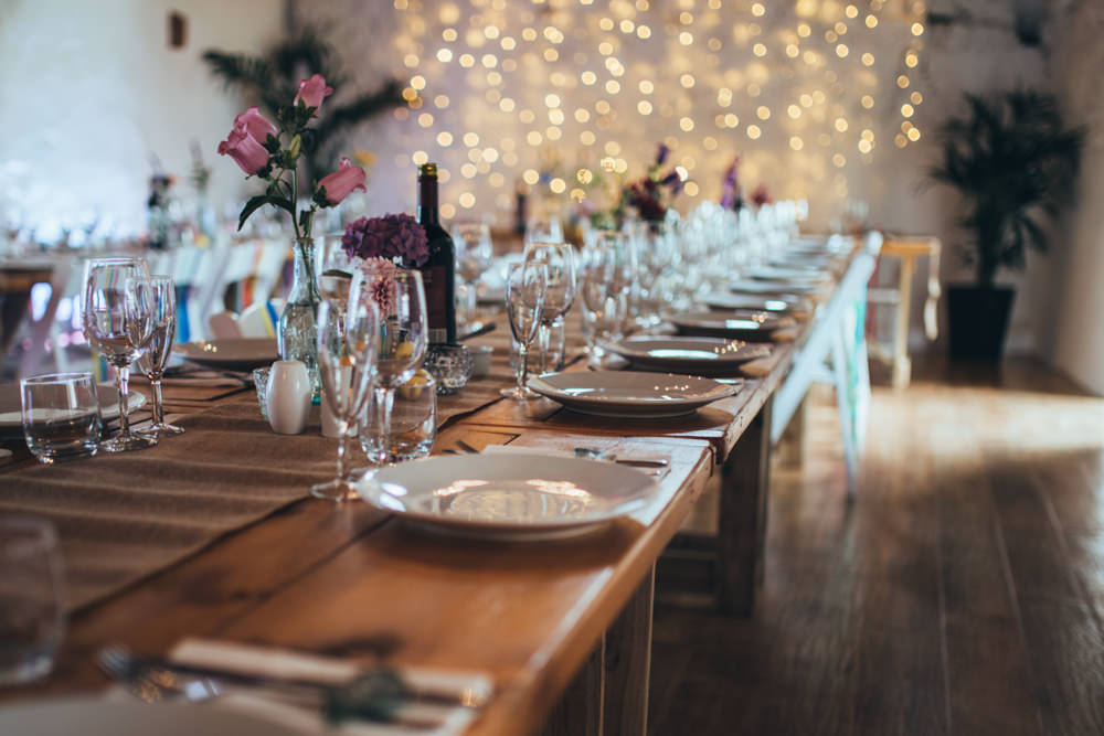 Long Wooden Tables Decor Decorations Flowers Bottles Old Barn Wedding Joshua Rhys Photography