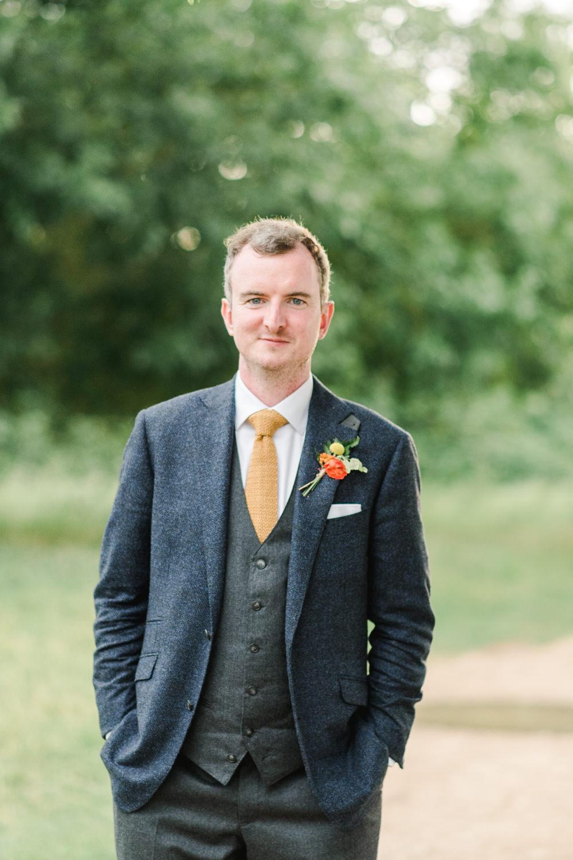 Groom Suit Navy Tweed Mustard Tie Perch Inn Wedding Captured By Katrina