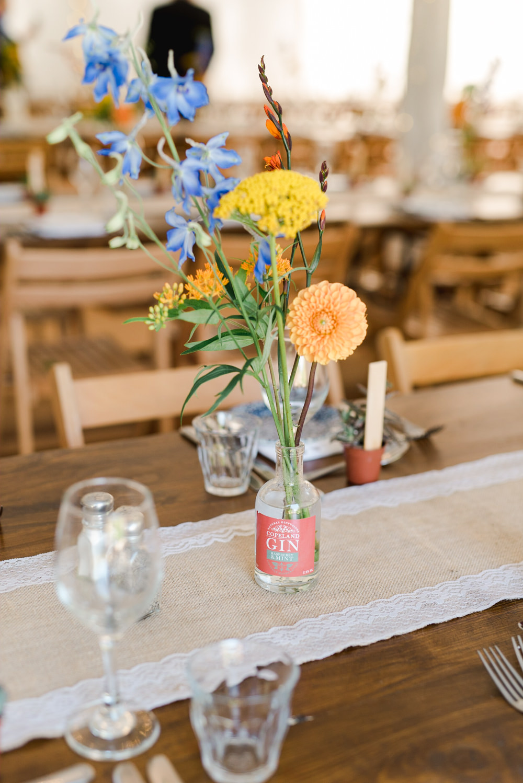 Bottle Flowers Yellow Blue Orange Perch Inn Wedding Captured By Katrina