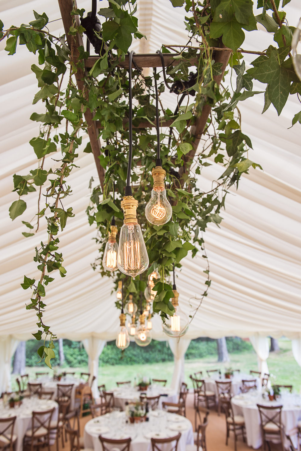 Marquee Decor Hanging Suspended Flowers Greenery Lights Lighting Sopley Lake Wedding One Thousand Words