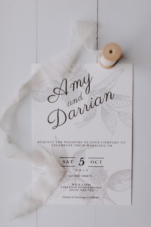 Invite Invitation Stationery Grey Calligraphy Wick Farm Bath Wedding Siobhan Beales Photography