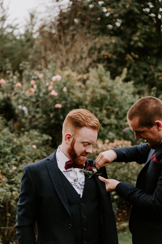 Groom Suit Navy Tweed Burgundy Bow Tie Wick Farm Bath Wedding Siobhan Beales Photography