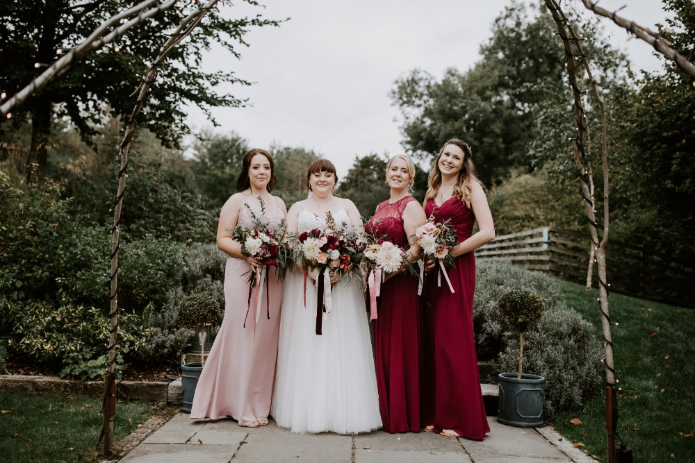 Bridesmaids Bridesmaid Dress Dresses Burgundy Pink Wick Farm Bath Wedding Siobhan Beales Photography
