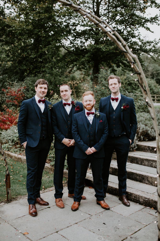 Groom Suit Navy Tweed Burgundy Bow Tie Groomsmen Wick Farm Bath Wedding Siobhan Beales Photography