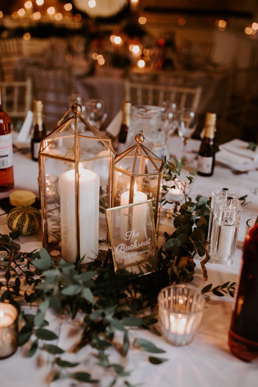 Centrepiece Decor Decoration Candles Greenery Foliage Terreriums Wick Farm Bath Wedding Siobhan Beales Photography