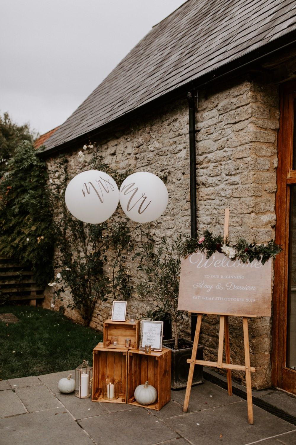 Welcome Sign Signs Signage Balloons Wooden Crates Wick Farm Bath Wedding Siobhan Beales Photography